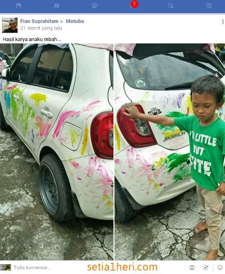 anak anak suka coret coret mobil akankah kena marah orang tua