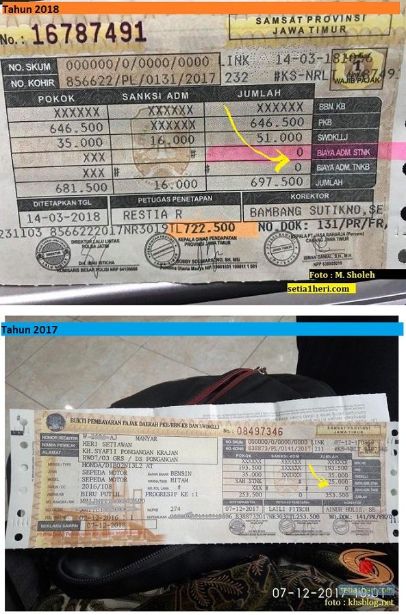 Beda penampakan pajak motor tahun 2018 dengan tahun sebelumnya...biaya pengesahan STNK sudah hilang...hehehe