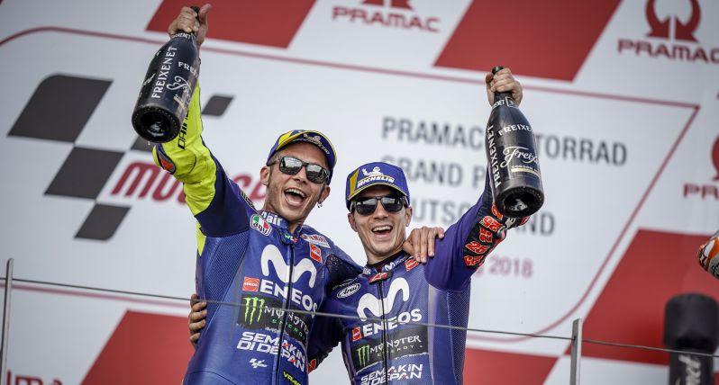 valentino rossi dan vinales podium di moto gp sachsenring jerman tahun 2018