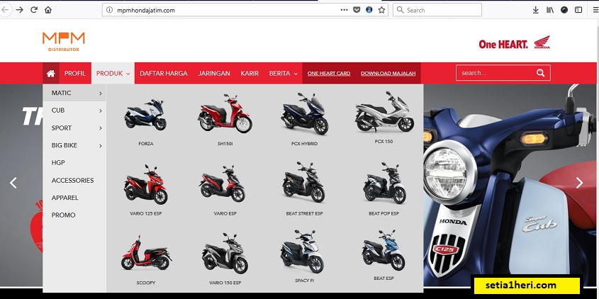 tampilan website mpm honda jawa timur tahun 2018
