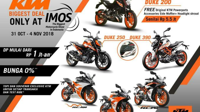 KTM Indonesia hadir di Indonesia Motorcycle Show (IMOS) 2018, ada special offer brosis
