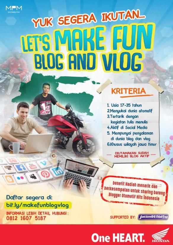 Buat kakang dan mbakyu di Jawa Timur yang hobi blog dan vlog otomotif, yuuk join bareng honda dan jatimotoblog