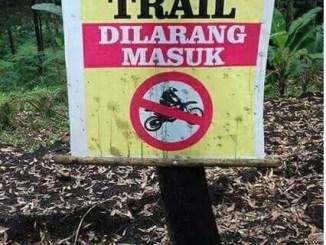 Dilarang ngetrail di kebon warga