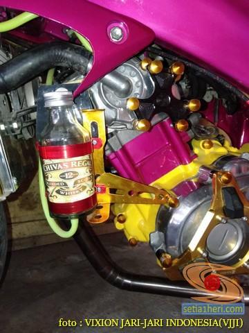Kumpulan gambar Modifikasi tabung reservoir coolant pada sepeda motor pakai botol parfum gans.. (27)