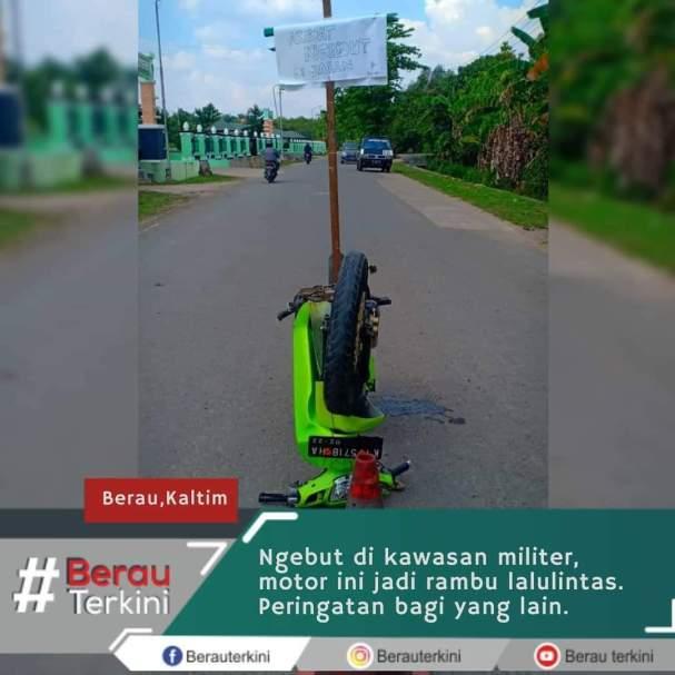 Biker ngebut di jalanan kawasan militer, begini nasibnya gans...ngenes....wkwkwkwk