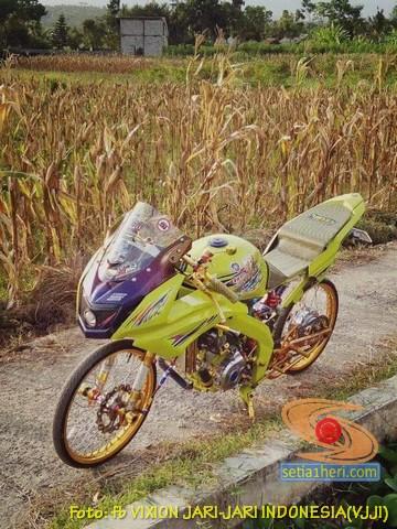 Modifikasi Yamaha Vijar warna kuning brosis
