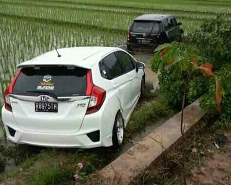 mobil kecelakaan di sawah
