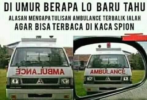 alasan tulisan ambulan di mobil terbalik