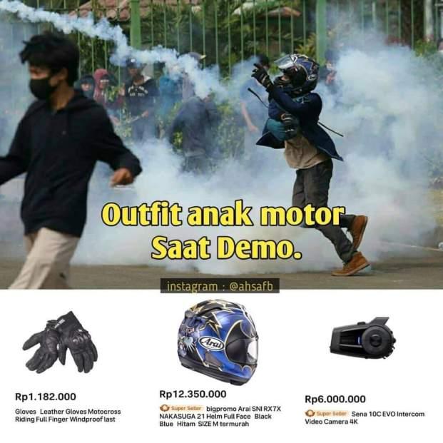 outfit anak motor saat demo omnibus law tahun 2020