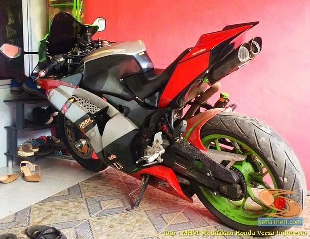 Modifikasi Honda Verza jadi motor sport full fairing pakai bodi Aprilia