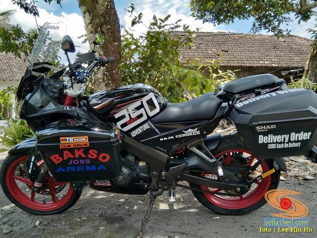Woww....Modifikasi motor sport fairing Minerva VX tahun 2012 pakai 4 sidebox gans