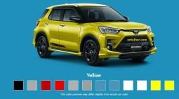 Pilihan warna kuning Toyota Raize tahun 2021