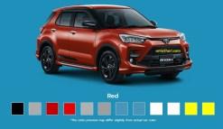 Pilihan warna merah Toyota Raize tahun 2021
