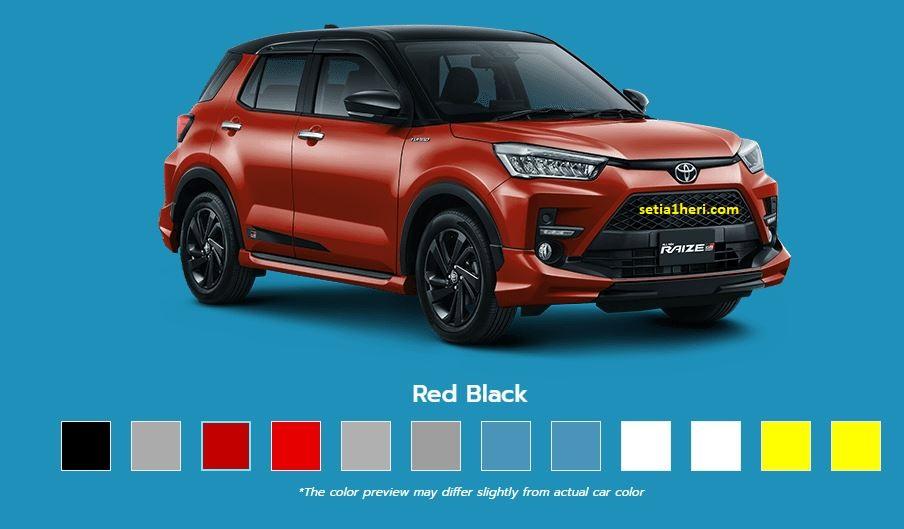 warna Toyota Raize tahun 2021