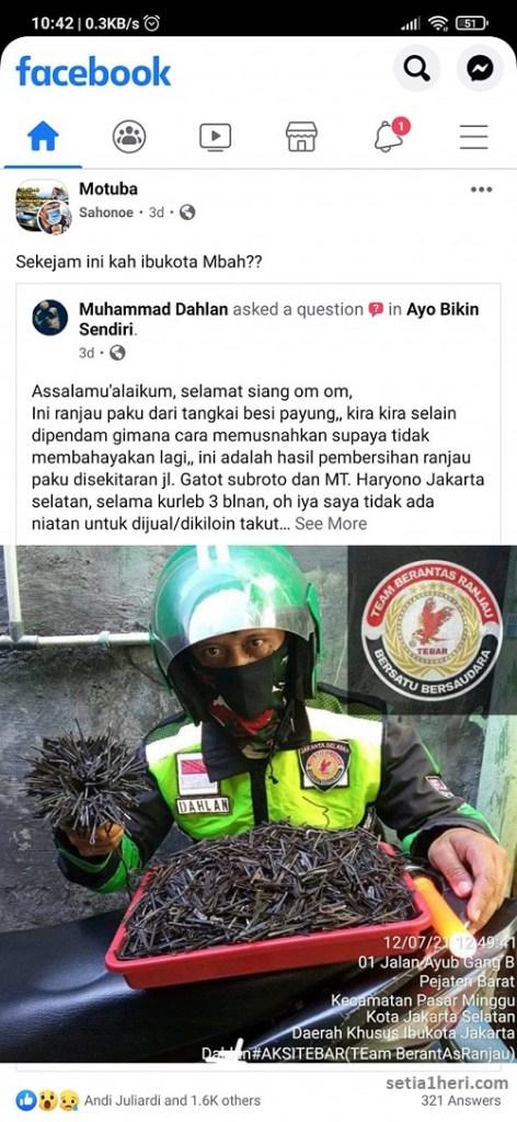 Ranjau paku di jalanan Ibu kota Jakarta bikin ternganga gans....