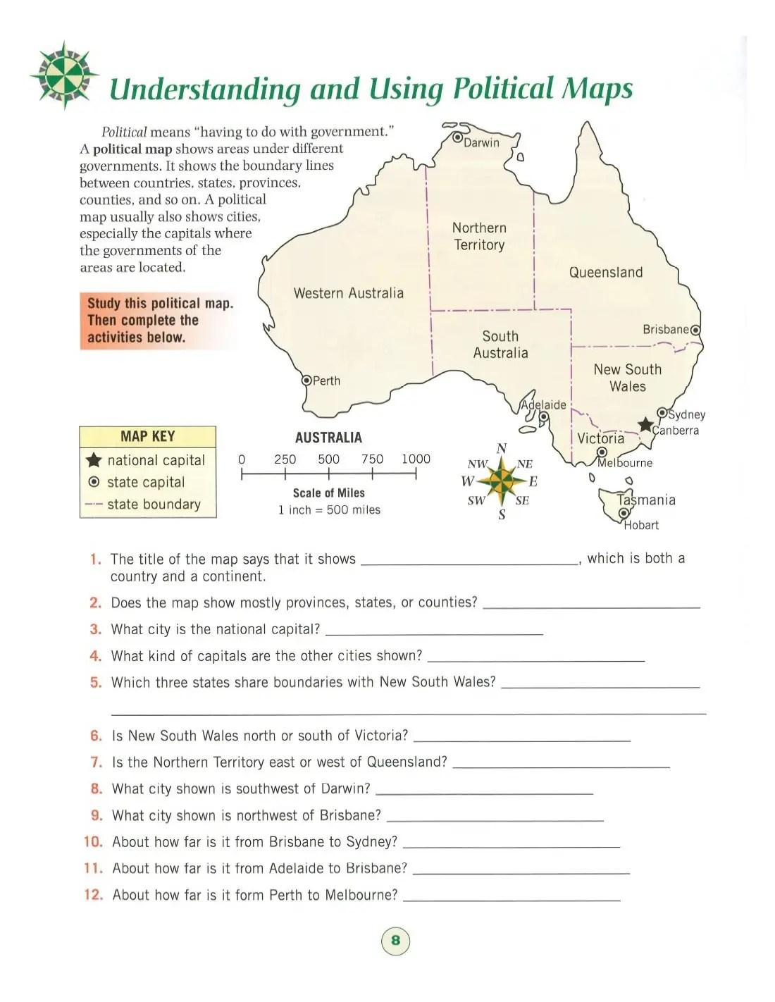 Map Skills Grade 6