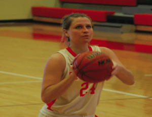 Sanner setting up for the free throw shot. Photo courtesy of D.Clark/Setonian