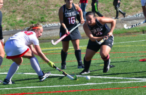Senior defender Carissa Devenport-Smith chases the ball to prevent the opponent from scoring. Photo courtesy of D.Clark/Setonian