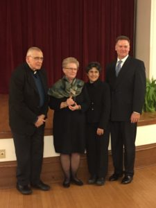 From left to right: John T. Pawlikowski, Mary C. Boys, Elena G. Procario-Foley and Tim Crain pose for a picture after the Nostra Aetate award presentation. Photo courtesy of P.Parise/Setonian