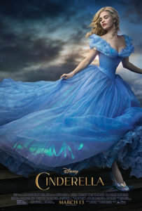 Cinderella with the infamous glass slipper and baby blue dress