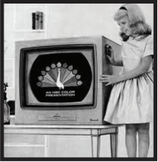 1957 advertisement for color TV, which originated in the early 50s. Photo courtesy by Pinterest