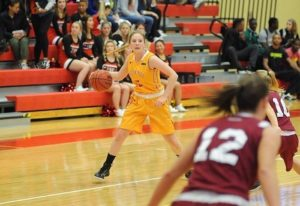 Sophomore guard, Lindsey Mifsud, averaging 7.8 points a game for the Lady Griffins, crosses over looking for a teammate to assist the ball to. Photo courtesy of athletics.setonhill.edu