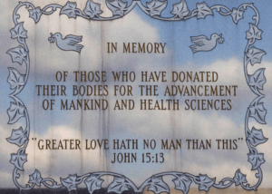 The memorial plaque is located in the Memorial Garden on WVU's campus. The plaque is in honor of those who donated their bodies to science. Photo courtesy of wvu.edu