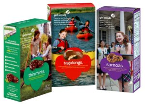 From left: Thin Mints, Tagalongs and Samoas; Girl Scout Cookies available for purchase and consistent sellers. Photo courtesy of T. Gordon
