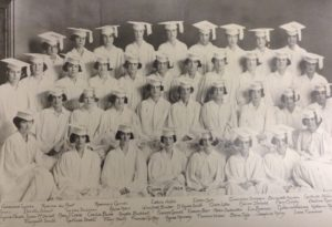 SHU class of 1942 poses for a graduation photo. Mary Henry is third from the left in the back row. She is the great-grandmother of Bridget Malley, staff writer for the Setonian and author of this piece. Photo courtesy of the Seton Hill Archives.
