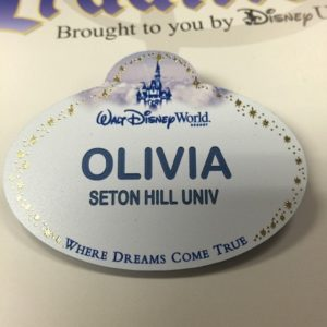 "Shultz's Disney name tag contained her name and university. She said she was ""happy to represent Seton Hill while in Florida."" Photo courtesy of O.Schultz."