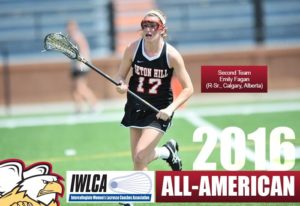 Emily Fagan won an award from the Intercollegiate Women's Lacrosse Coaches Association (IWLCA). Photo from athletics.setonhill.edu.