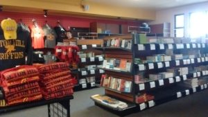 The bookstore contains lots of Seton Hill merchandise and textbooks. In the future, a wall will separate the books from the other merchandise and lead to Shannon Davis's desk. Photo courtesy of H.Carnahan.