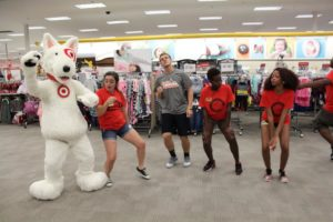 Students celebrate another year of Target Takeover with Bullseye, the official mascot of Target Corporation. Photo courtesy of E.Michaux.