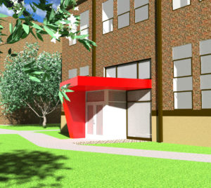 Shown above is the blue print for the exterior of the student lounge. Photo courtesy of A.Wilson.