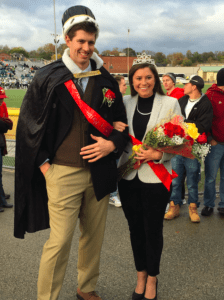 Seniors Noah Davis and Emily Hutsko smile after being crowned the 2016 Homecoming King and Queen during halftime of SHU's football game Oct. 22. Photo courtesy of E.Hutsko.