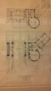 This blueprint was proposed for the gatehouse that would be at the bottom of the hill. Photo courtesy of L.Cowan/Setonian.