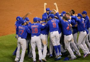 The Chicago Cubs celebrate on the field Nov. 2 after winning their first World Series championship since 1908. Photo courtesy of Wikimedia Commons.