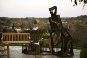 The sculpture was designed after a mountain because Womack was considered a rock to the Greensburg community. Photo courtesy of triblive.com.