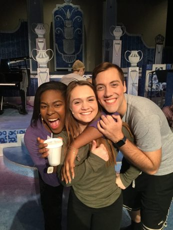 Azaria Oglesby, Anna Strauser and Joshua Daisley smile before the show.
