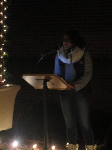 Freshman class president Alexandrea Masocco welcomes everyone at the start of the crib ceremony.