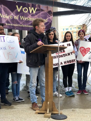 Jon McCabe, 21, from Penn State New Kensington, speaks at the March for Our Lives rally in Greensburg on March 23.