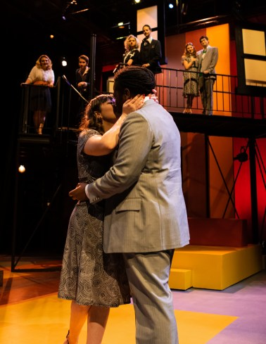 """Amy (Barbara Lawson) shares a kiss with Paul (Malcolm McGraw) after saying yes to his marriage proposal during Seton Hill University's production of """"Company"""" from Oct. 19-27."""