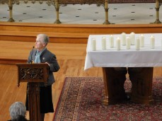 Sister Maureen O'Brien, director of campus ministry at Seton Hill University, gives closing remarks at the memorial service in St. Joseph Chapel on Oct. 30 for the victims of the shooting at the Tree of Life synagogue in Squirrel Hill that occurred on Oct. 27. Photo by H.Carnahan/Setonian.