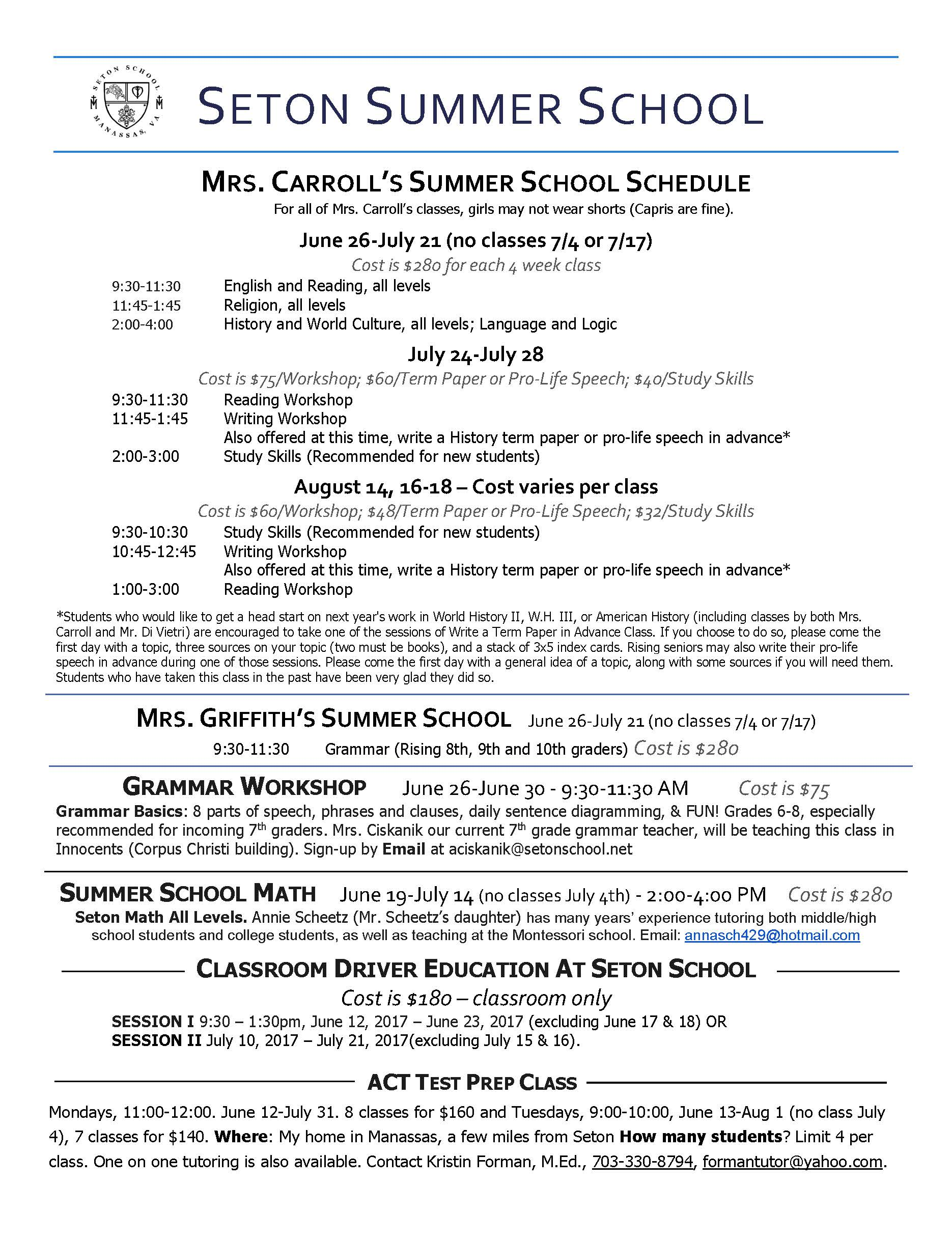 Summer Academic Schedule Summer Activities Schedule