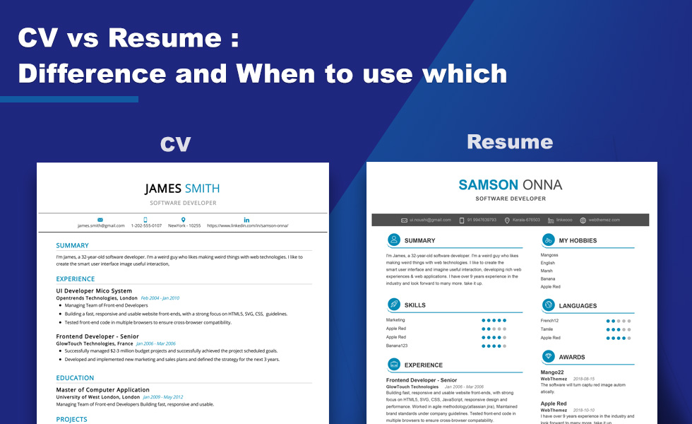 What Is The Difference Between Cv And Resume 2020 Setresume