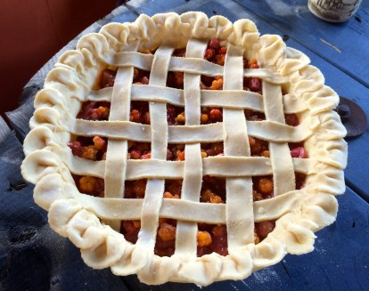 Rhubarb Salmon Berry Pie