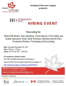 Harmony Beef Hiring Fair at Immigrant Services Calgary @ Immigrant Services Calgary | Calgary | Alberta | Canada