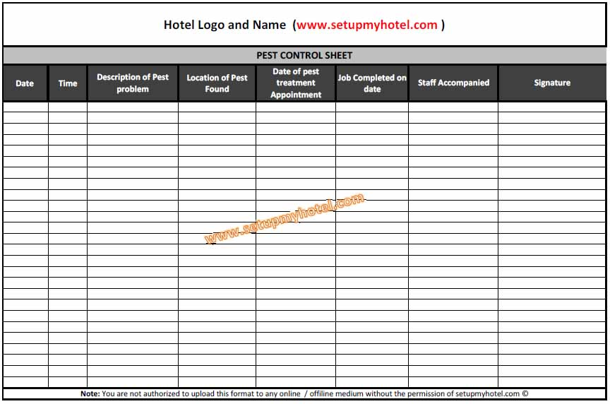 Pest Control Log Book Sheet