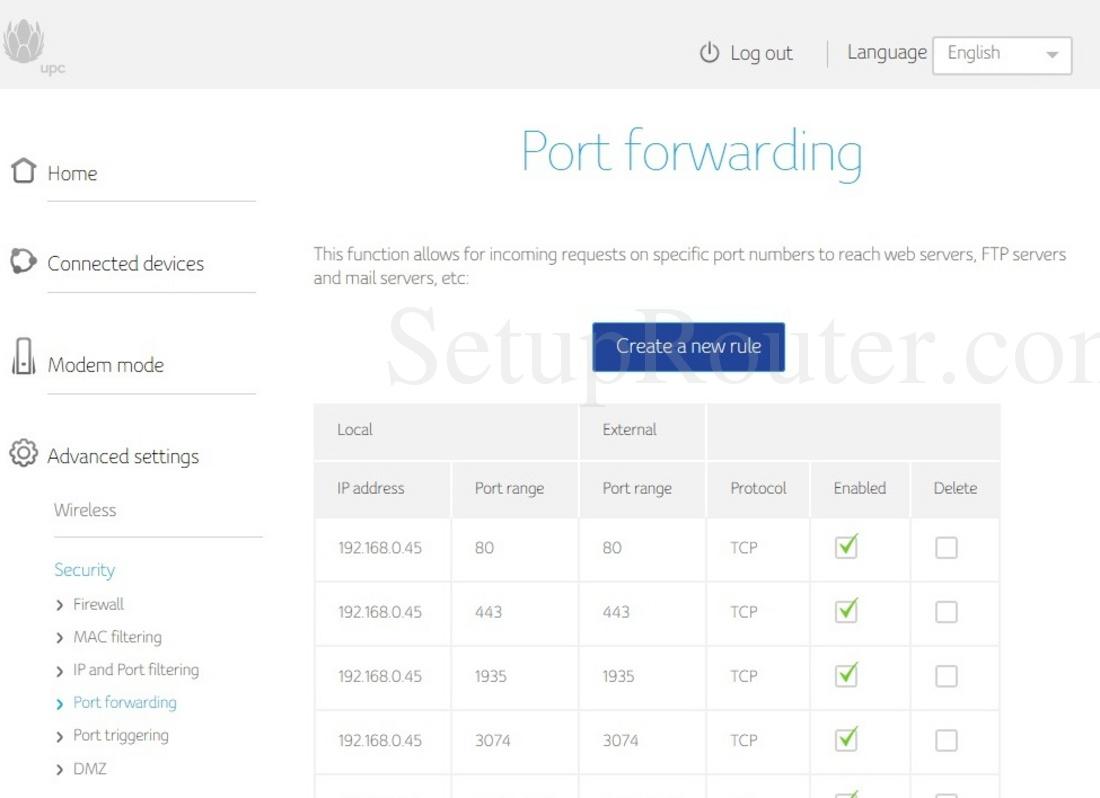 Compal Ch Lg Lc Screenshot Portforwarding