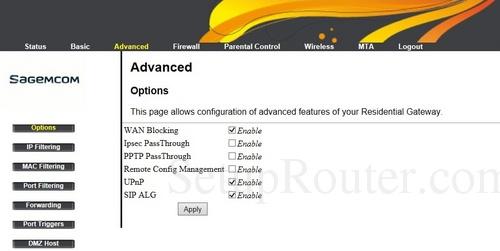 Sagemcom Fast 3686 Screenshots